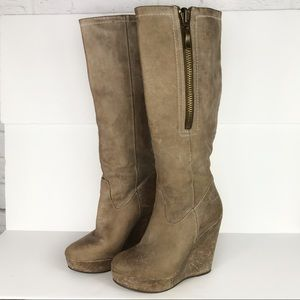 Steven by Steve Madden Distressed Wedge Knee Boots